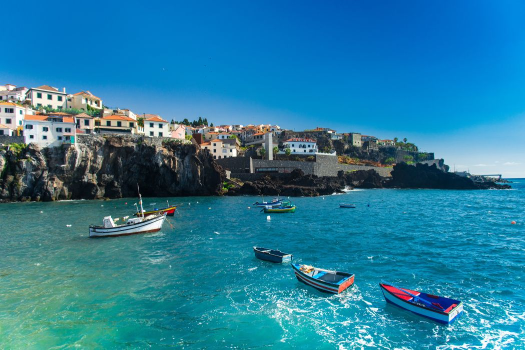 Portugal Houses Sea Boats Coast Madeira Crag Cities wallpaper