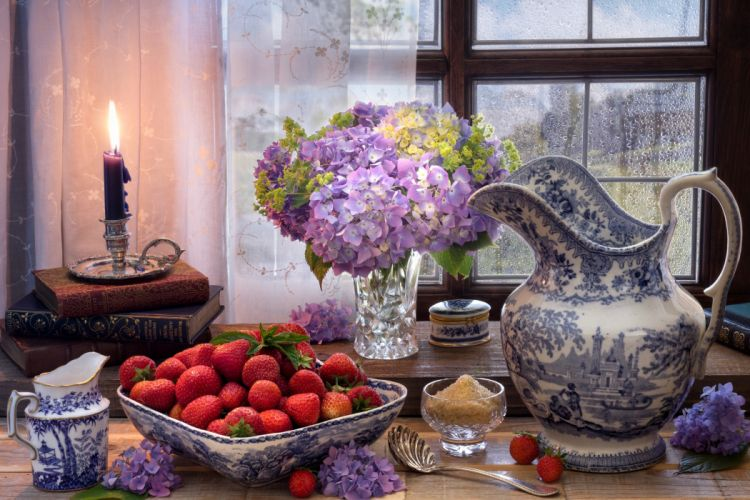 Still-life Hydrangea Candles Strawberry Jug wallpaper
