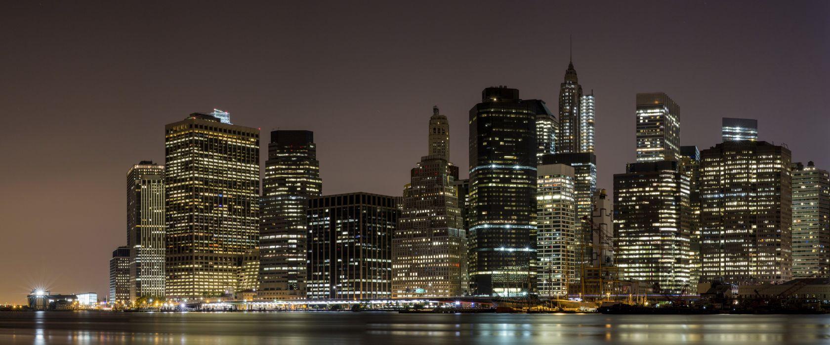 Skyscrapers Manhattan New York City Night Cities wallpaper