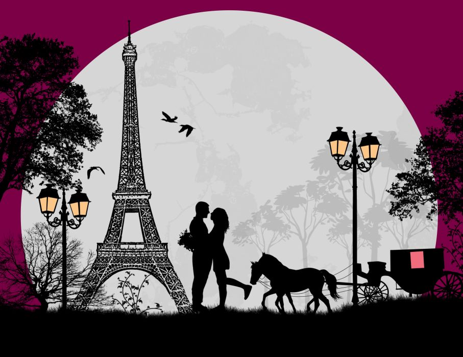 Vector Graphics Love Paris Eiffel Tower Moon wallpaper