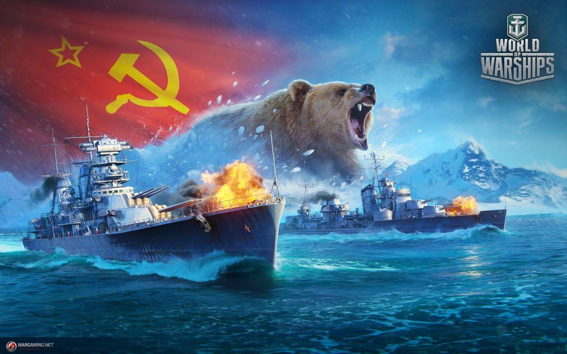 World Of Warship Ships Bears Russian USSR Games Army Wallpaper
