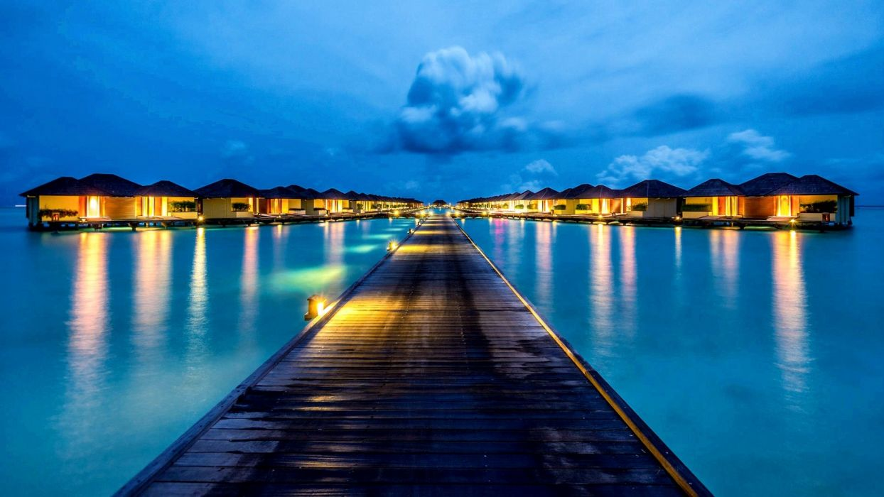 -beach-sea-pier-lamps-tropical-maledives-evening-vacation-holiday-lights-ocean-tropic-clouds-night-paradise-huts-nature-bungalows-water-summer-sky wallpaper