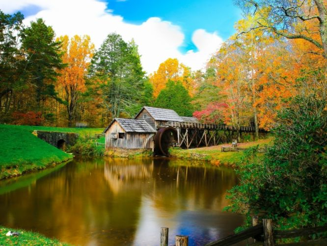 Mill on the River and colorful autumn forest wallpaper