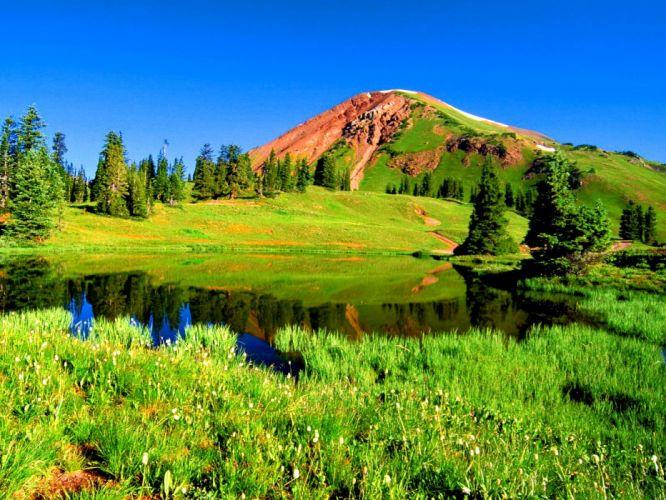 -mountain-riverbank-nature-clouds-green-flowers-trees-summer-river-greenery-sky-creek-grass- wallpaper