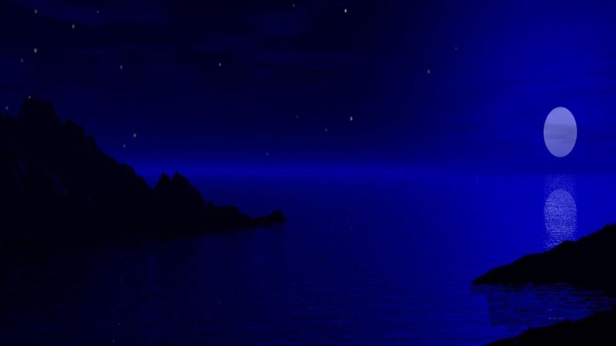 ocean-sea-mountains-stars-sky-moonlight-blue-night wallpaper