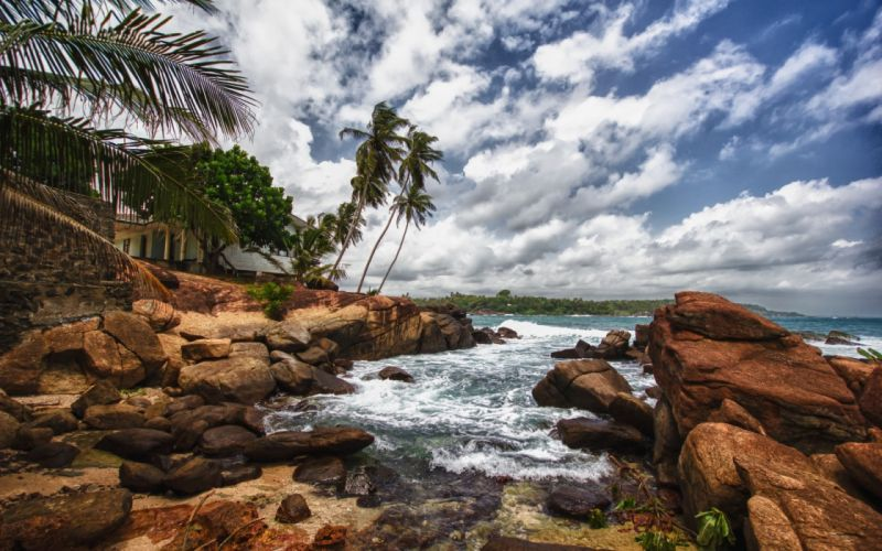 ocean-sea-nature-oceans-clouds-trees-rocks-rocky-coast-tropical wallpaper