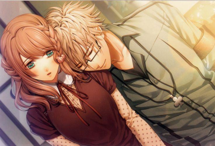 blonde hair blush braids brown hair glasses green eyes jewelry ribbon smile Amnesia Characters Heroine Kent wallpaper