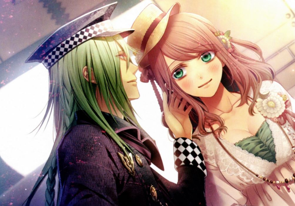 blush brown hair flower green hair hat long hair smile Amnesia Characters Heroine Ukyo wallpaper