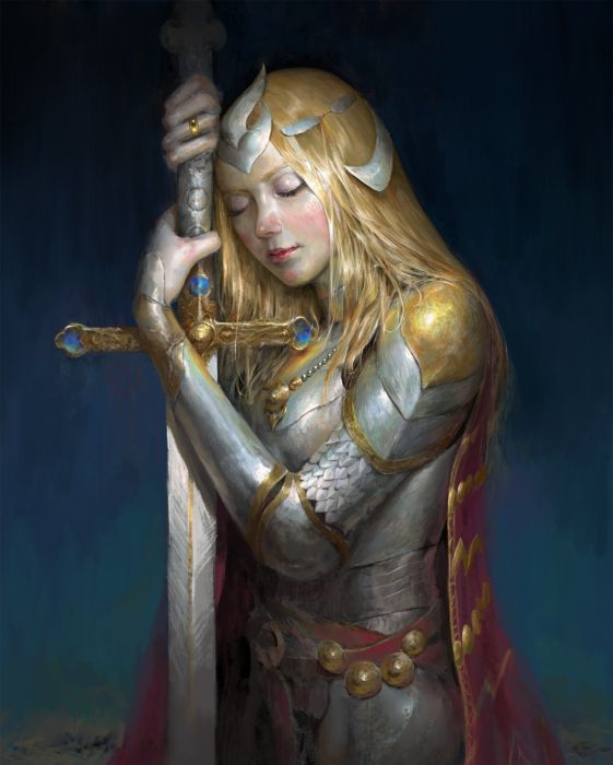 gayus-hendrianto-gayush-sleep original character beautiful woman fantasy blonde sword wallpaper