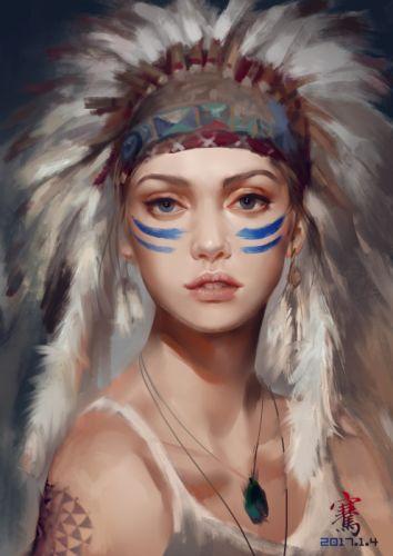 liang-qian original character beautiful woman fantasy fece blue eyes wallpaper