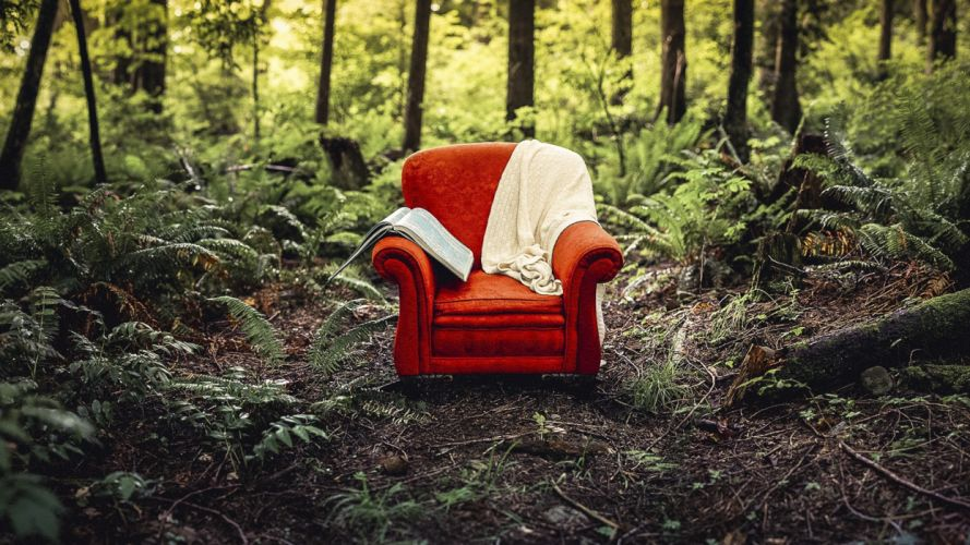 forest red armchair wallpaper