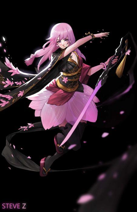steve-zheng-sakura original character beautiful woman fantasy dress wallpaper
