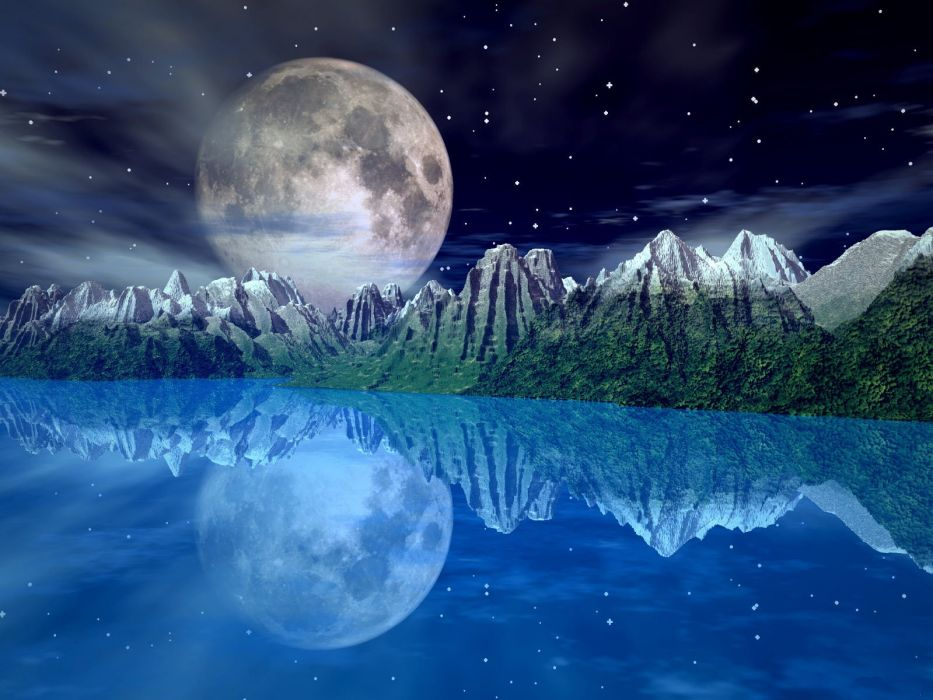 Huge moon over the lake wallpaper