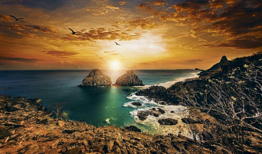 twin-brothers-fernando-de-noronha-pernambuco-brazil-atlantic-ocean-fernando-de-noronha-pernambuco-brazil-atlantic-ocean-rock-coast-sunset-ocean wallpaper