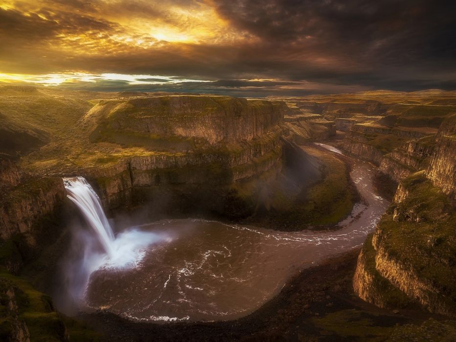 waterfall river clouds usa washington canyon palouse falls the palouse wallpaper