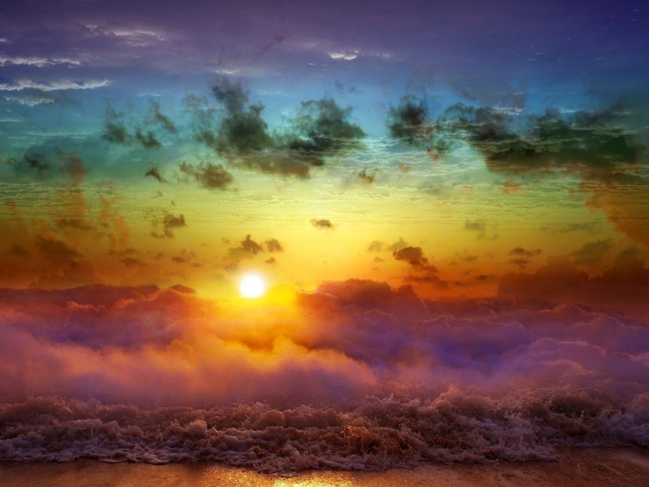 Waves in the clouds beach sea sun clouds wave wallpaper