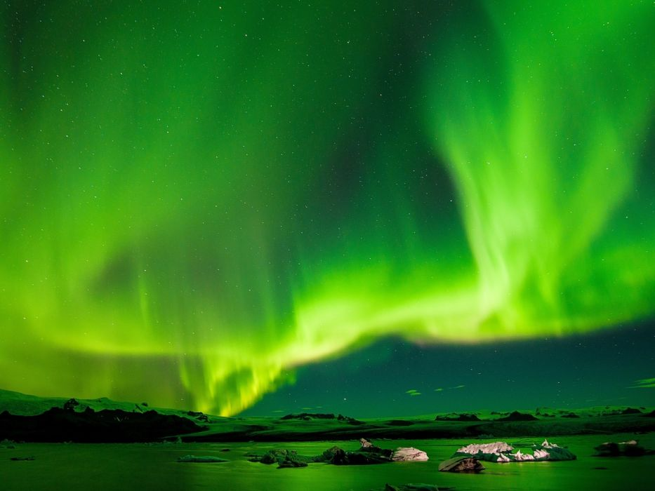 winte rnorthern lights iceland sky wallpaper
