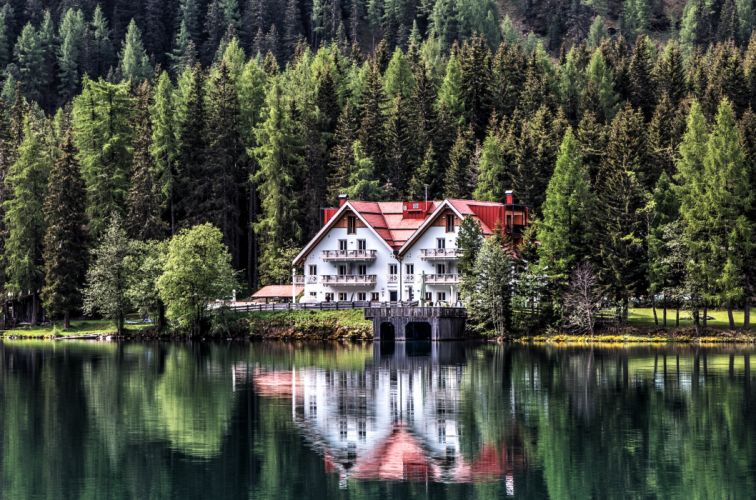beautiful building chalet conifers daylight dock forest garden grass HD wallpaper house lake lakeside landscape mirroring mountain nature nature photography wallpaper