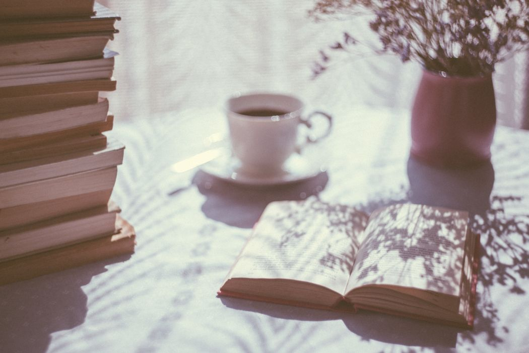 blur books ceramic coffee cup drink leisure pages plant relaxation shadow table wallpaper