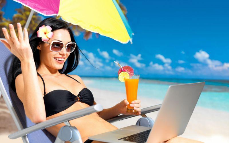 vacaciones playa mujer morena helado ordenador wallpaper