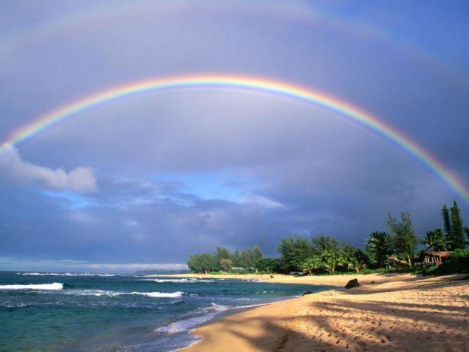 Hawaii Double Rainbow Over Kauai America clipart best sea island coast nature rainbow blue tropics wallpaper