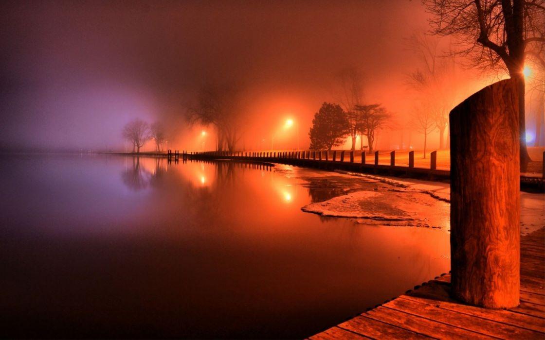 lake-night lights pier fog trees wallpaper