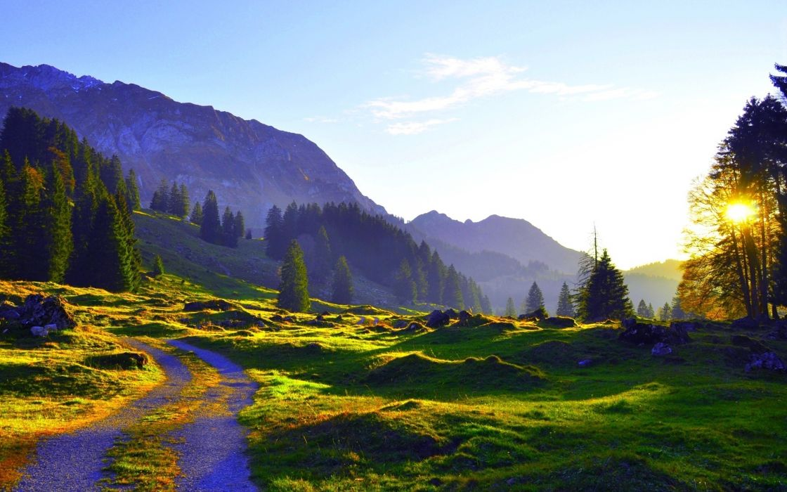 morningimages wallpapers Mountains morning sunrse Morningimages Morning in Green Mountains wallpaper
