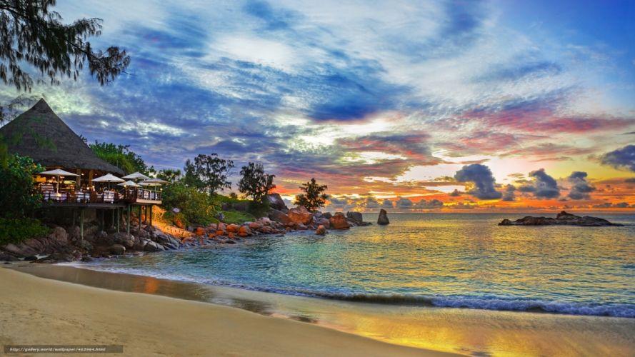 playa amanecer mar casa naturaleza wallpaper