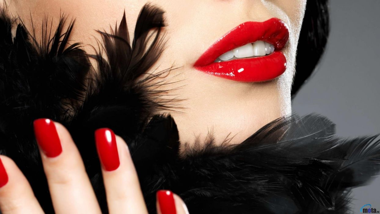 Face-makeup-lips-lipstick-hands-nails-finger-tooth-feather wallpaper