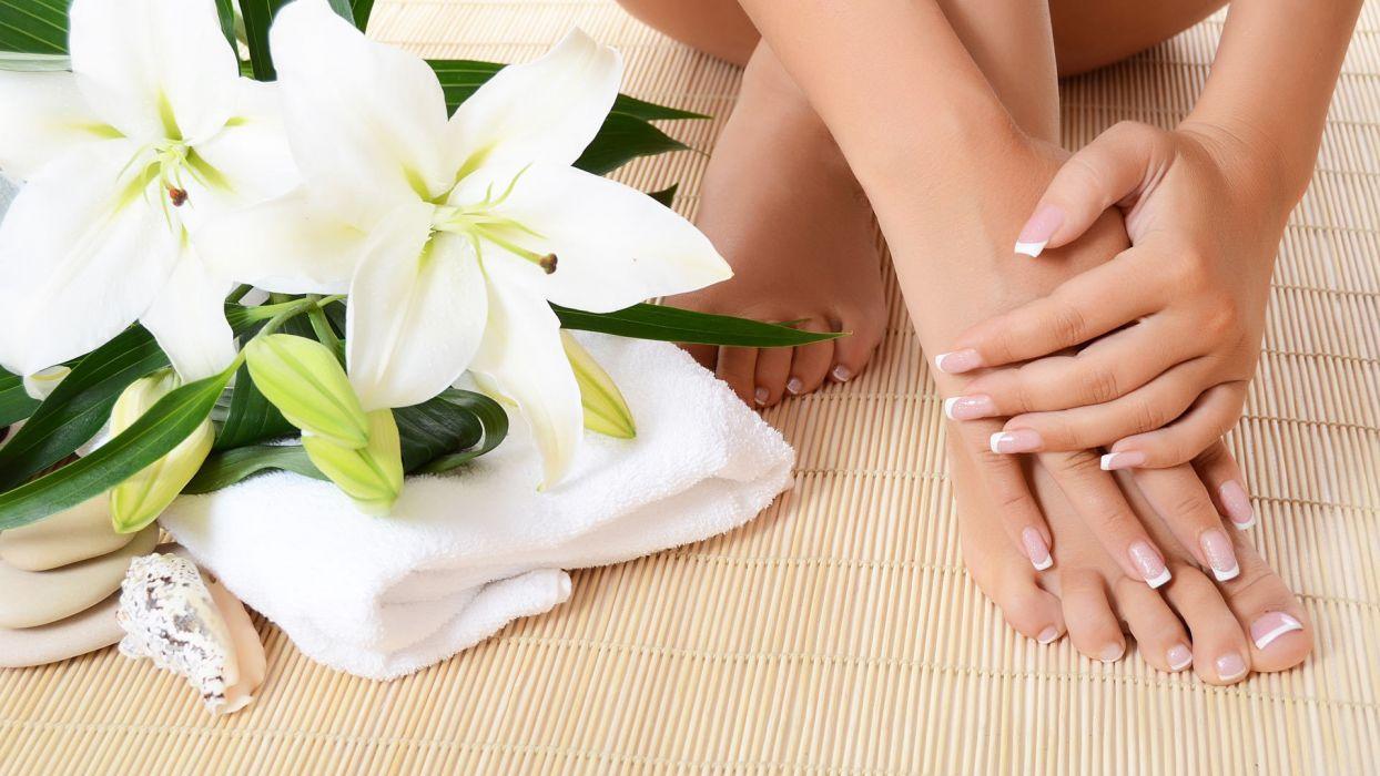 Hands-nails-finger-feet-barefoot-flowers wallpaper