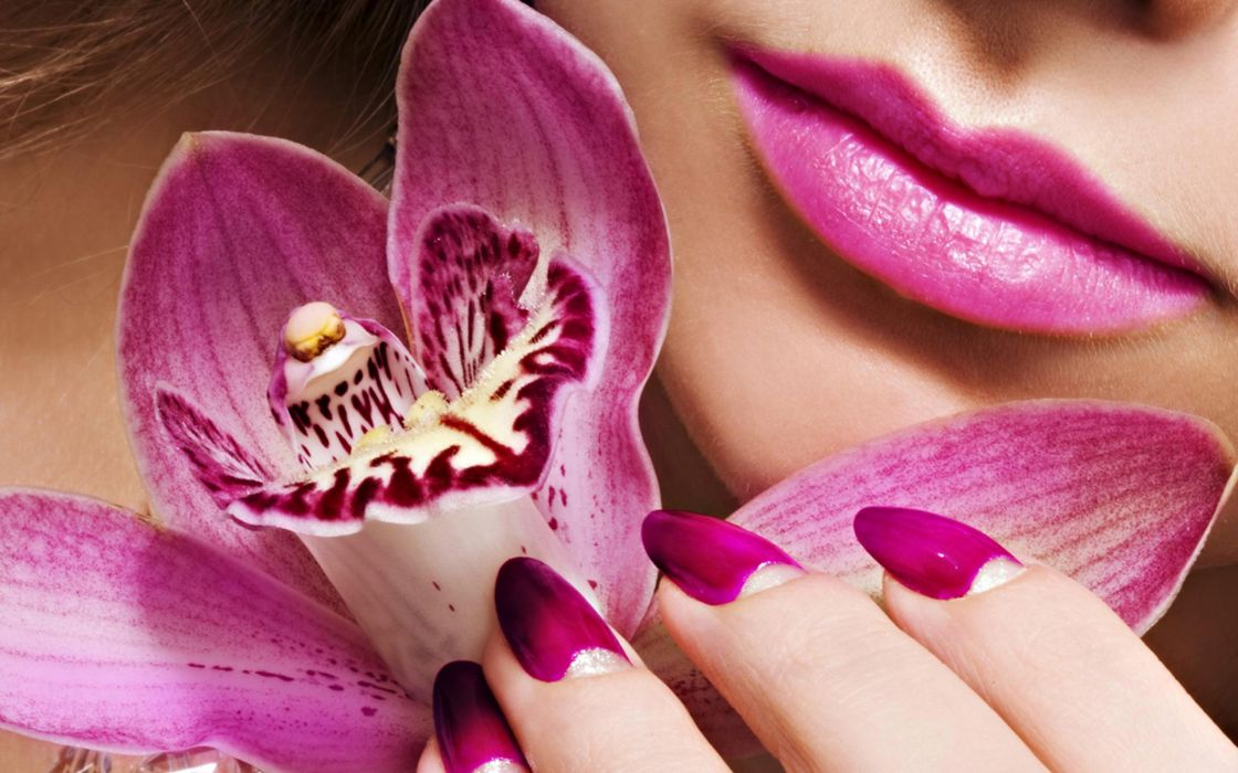 Face-makeup-lips-lipstick-hands-nails-finger-pink-orchid-flower wallpaper