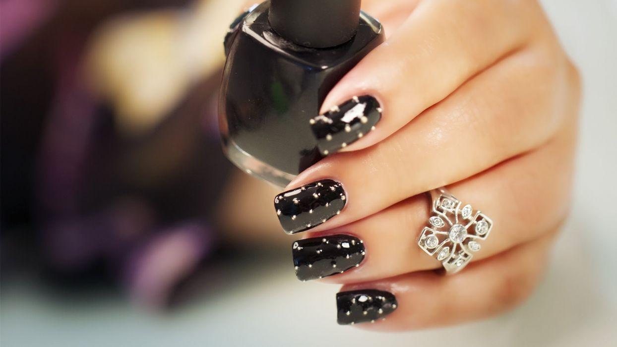 Hands-nails-finger-manicure-black-dots-ring wallpaper