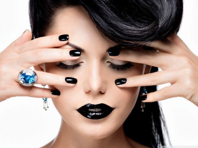 Face-makeup-lips-lipstick-hands-nails-finger-ring-black wallpaper