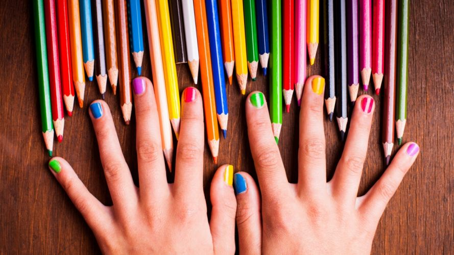 Hands-nails-finger-manicure-collorfull-colored-pencils wallpaper