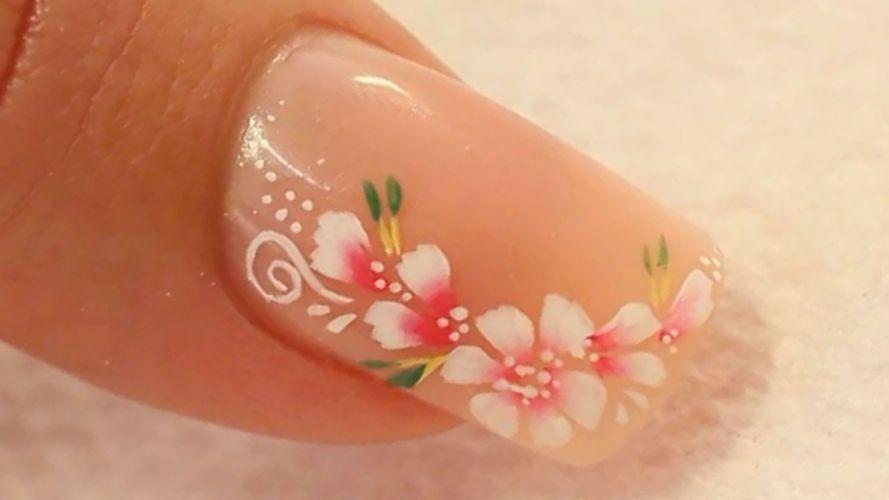 Hands-nails-finger-manicure-flowers-transparent wallpaper
