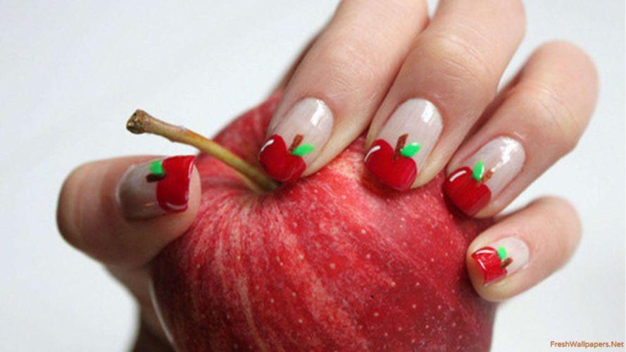 Hands-nails-finger-manicure-fruit-apple-desgin-art wallpaper