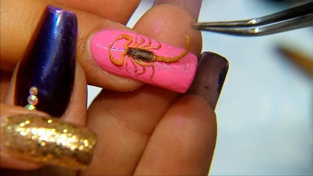 Hands-nails-finger-manicure-pink-scorpion wallpaper