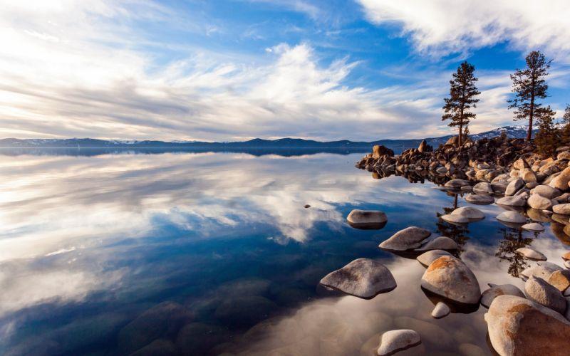 lago naturaleza piedras nubes wallpaper