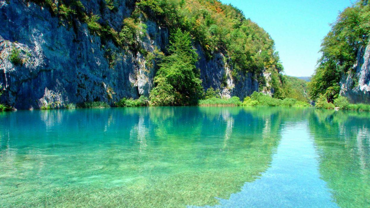 plitvice lago croacia monte naturaleza wallpaper