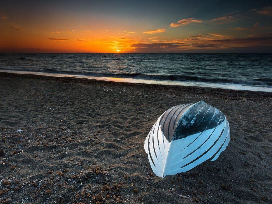 beach sunset sea sand boat wallpaper