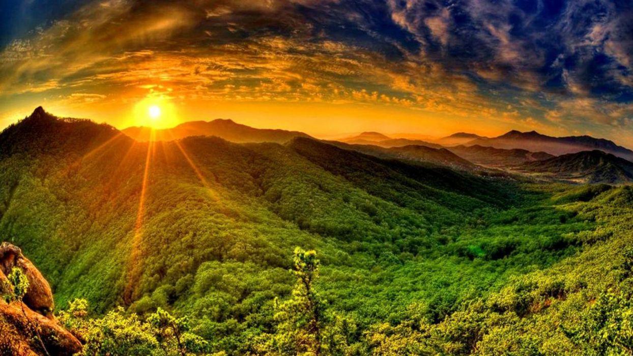 hills sunrise landscape sky nature grass wallpaper