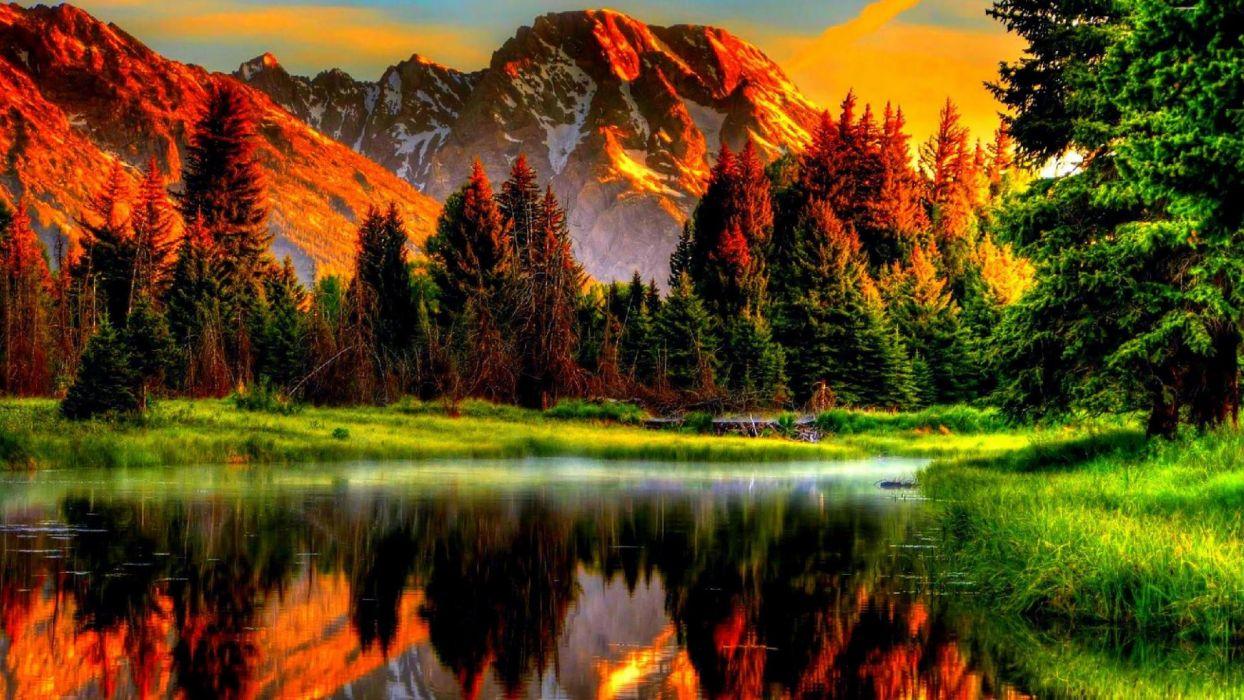 lake scenic mountains nature beautiful sunset reflection greenery green trees wallpaper