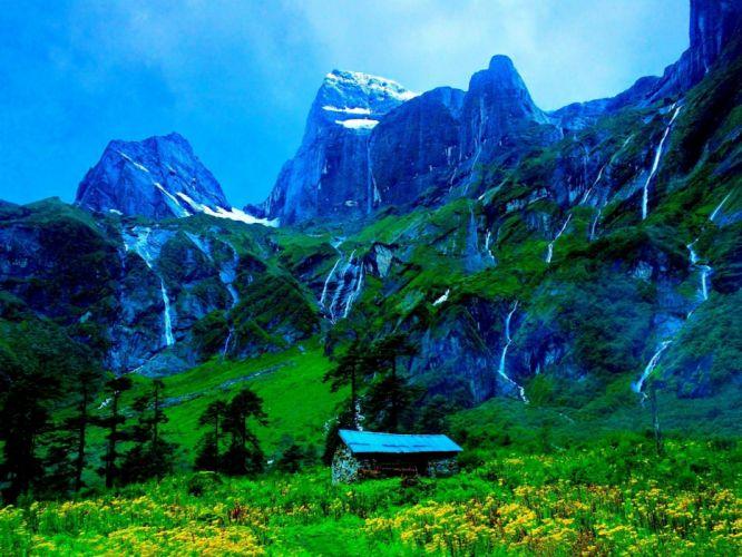 mountain-cottage wallpaper