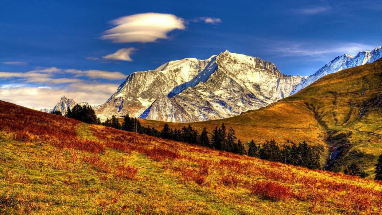 mountain-pretty-majestic-beautiful-amazing-nice-fall-field-rays-sky-peaks-trees-path-lovely-autumn-falling-calm-nature-clouds wallpaper