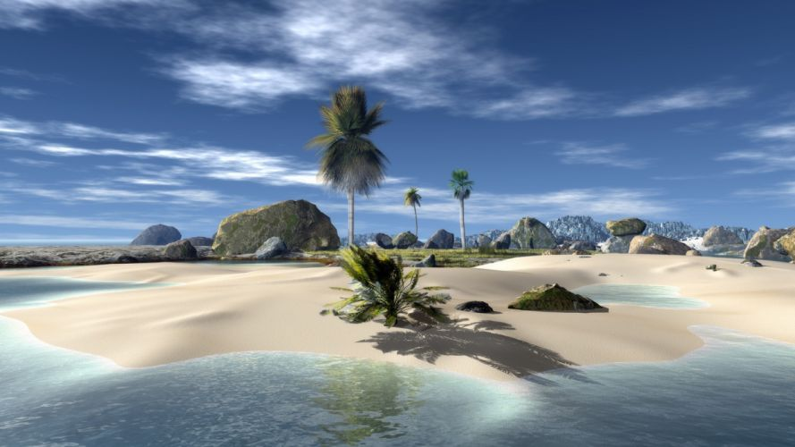 paisaje naturaleza isla palmeras playa wallpaper