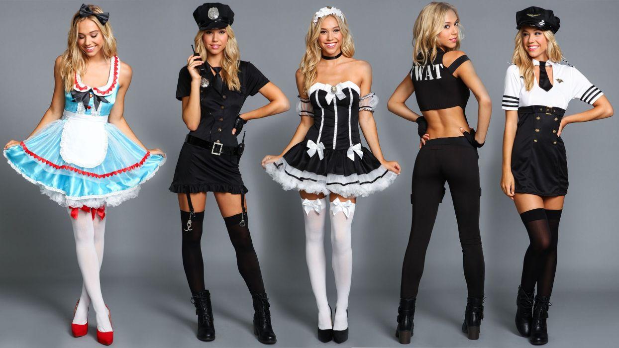 Cosplay-sensuality-sensual-sexy-woman-girl-model-costumes-alice-cop-maid-swat-Alexis Ren wallpaper