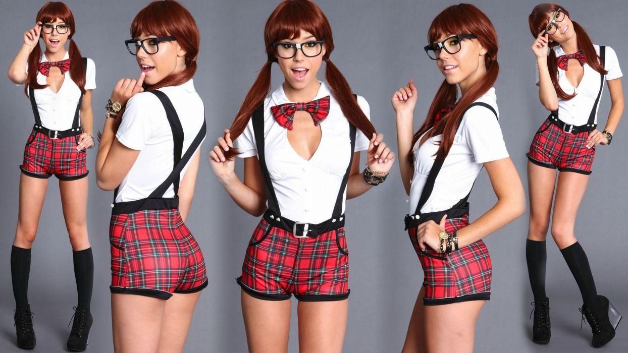 Cosplay-sensuality-sensual-sexy-woman-girl-model-costumes-glass-plaid-legs-socks-Alexis Ren wallpaper