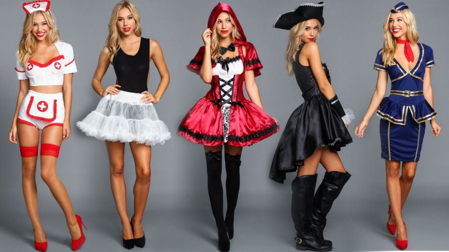 Cosplay-sensuality-sensual-sexy-woman-girl-model-costumes-nurse-maid-pirate-stewardess-Alexis Ren wallpaper