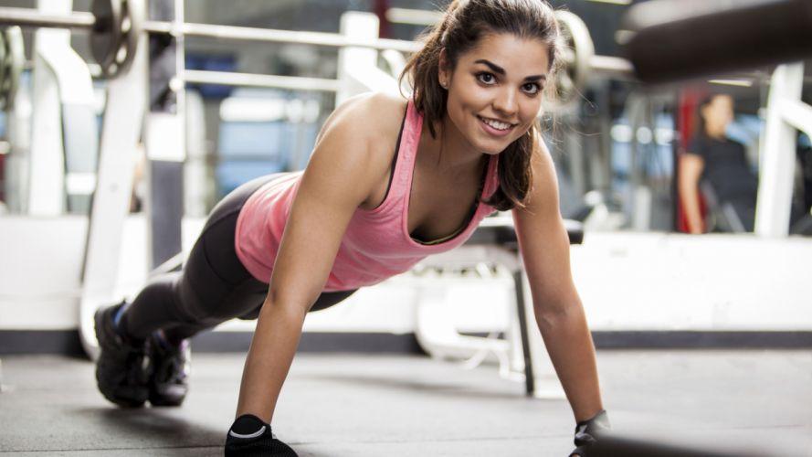 Sports-sensuality-sensual-sexy-woman-girl-fitness-model-workout-arm-pushup wallpaper