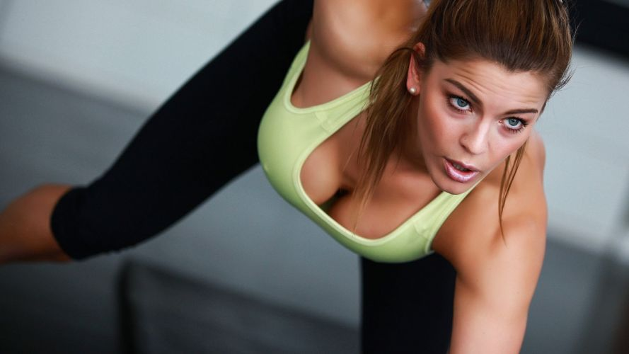 Sports-sensuality-sensual-sexy-woman-girl-fitness-model-workout-shaped-cleavage wallpaper